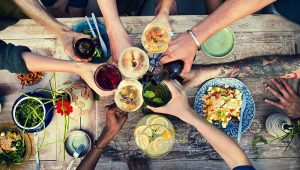 Table of food and drinks