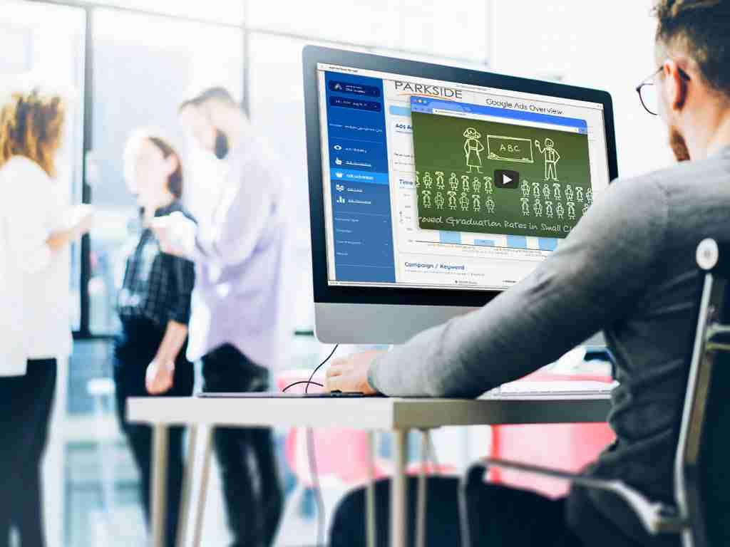 designer sitting creating advertising